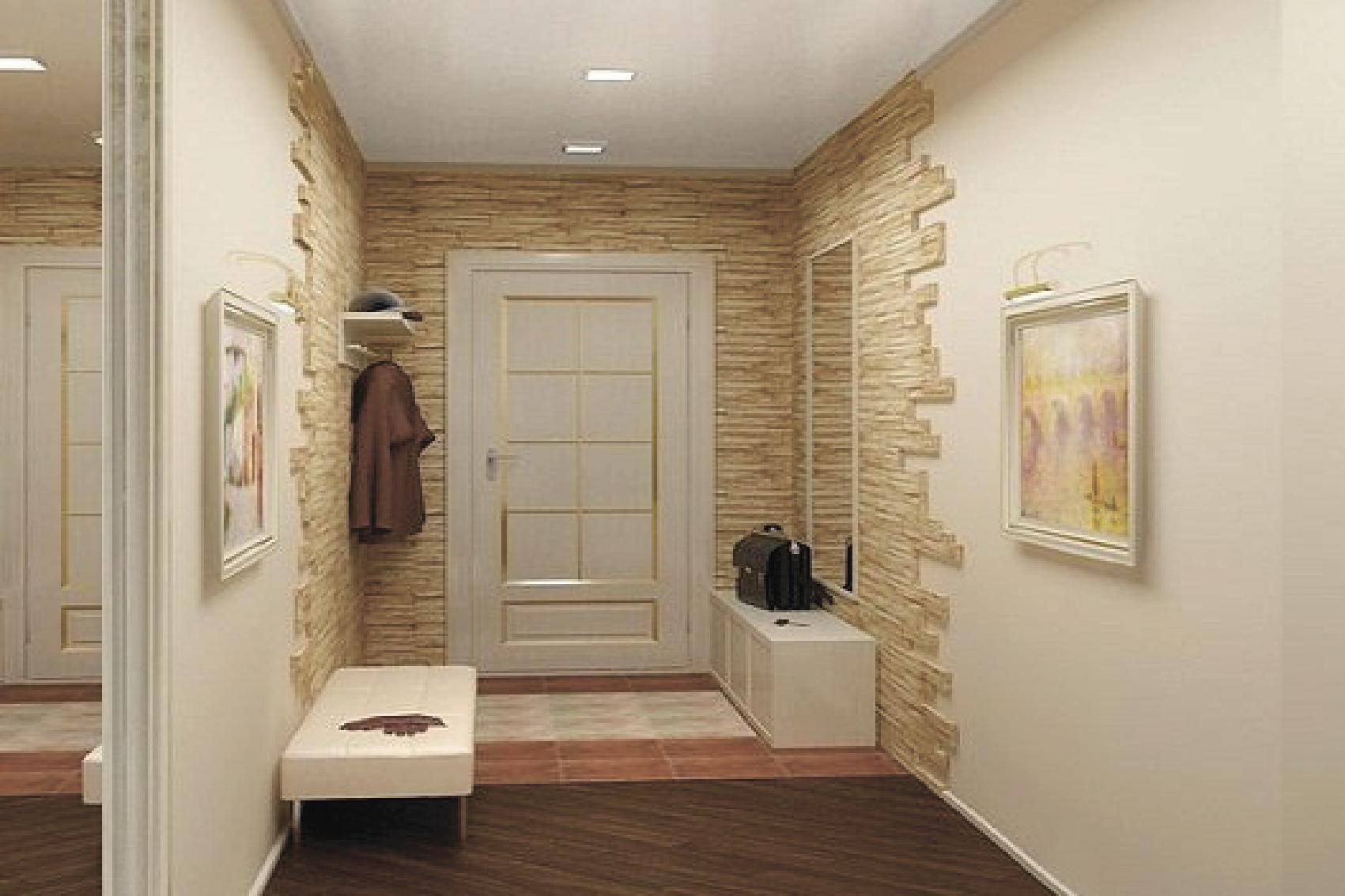 Декоративный камень в квартире прихожая дизайн