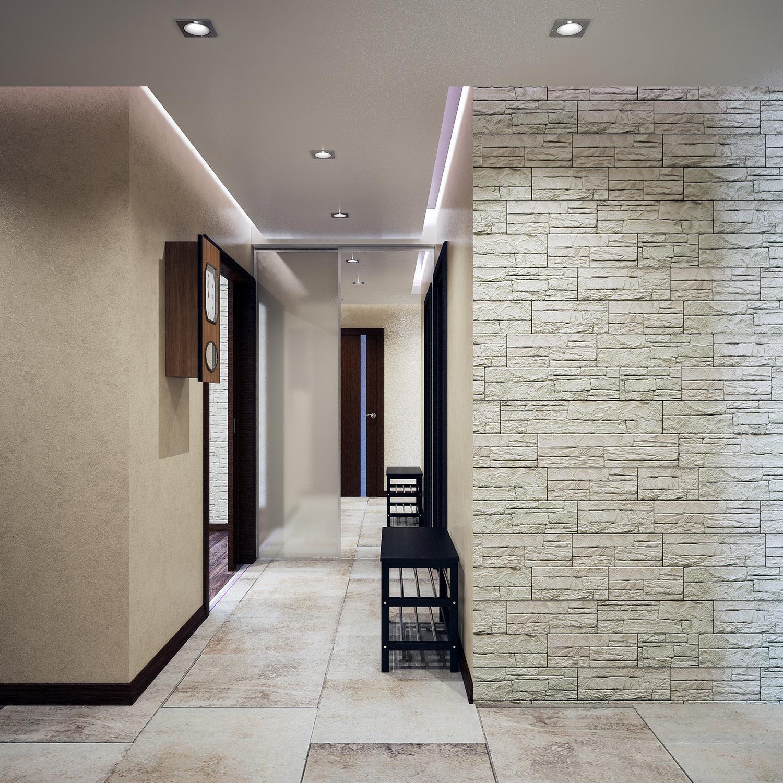 агломератный камень в стилистике прихожей комнаты