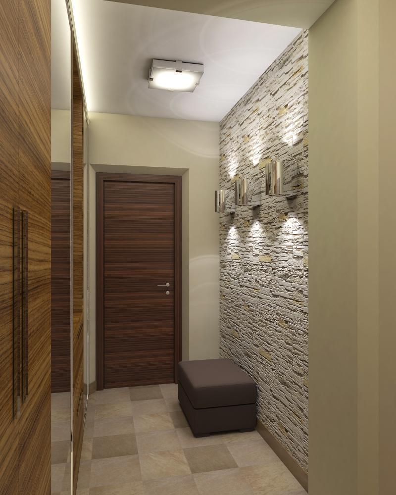 гипсовый камень в оформлении проходной комнате