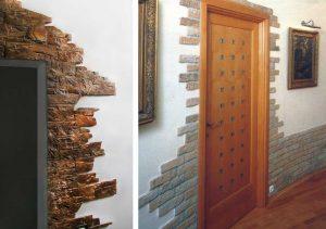 гипсовый камень в дизайне проходной комнате картинка