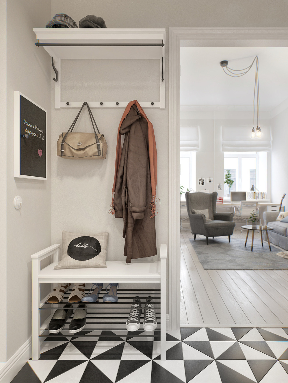 железная вешалка с обувницей в прихожую комнату дизайн