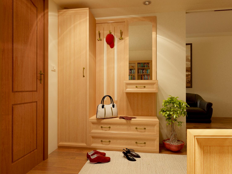 красивая вешалка с обувницей в прихожую комнату пример дизайна