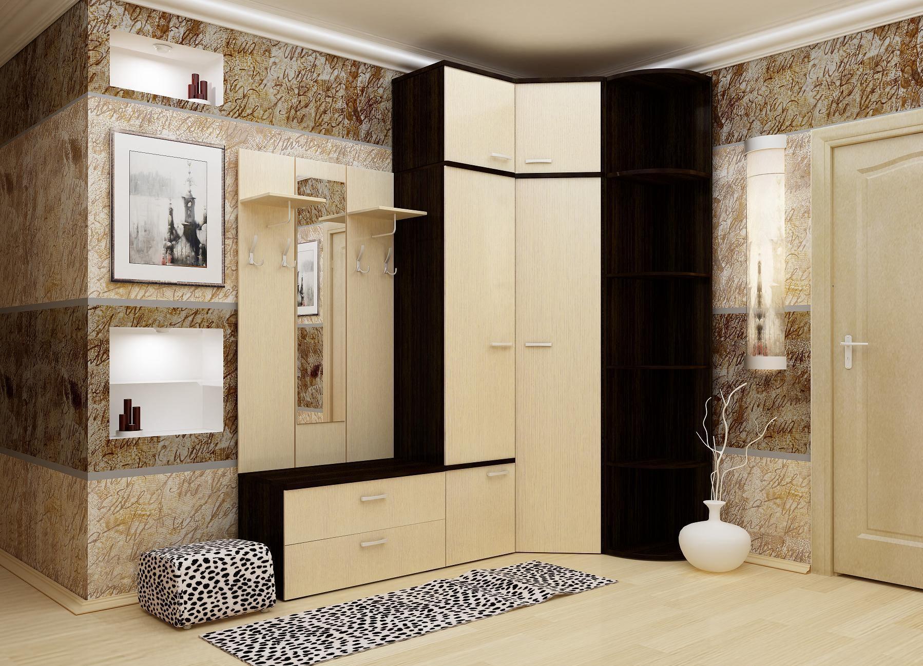 дизайн интерьера прихожей в квартире в ярких тонах