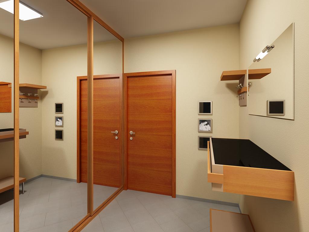 дизайн прихожей комнаты в доме в ярких тонах