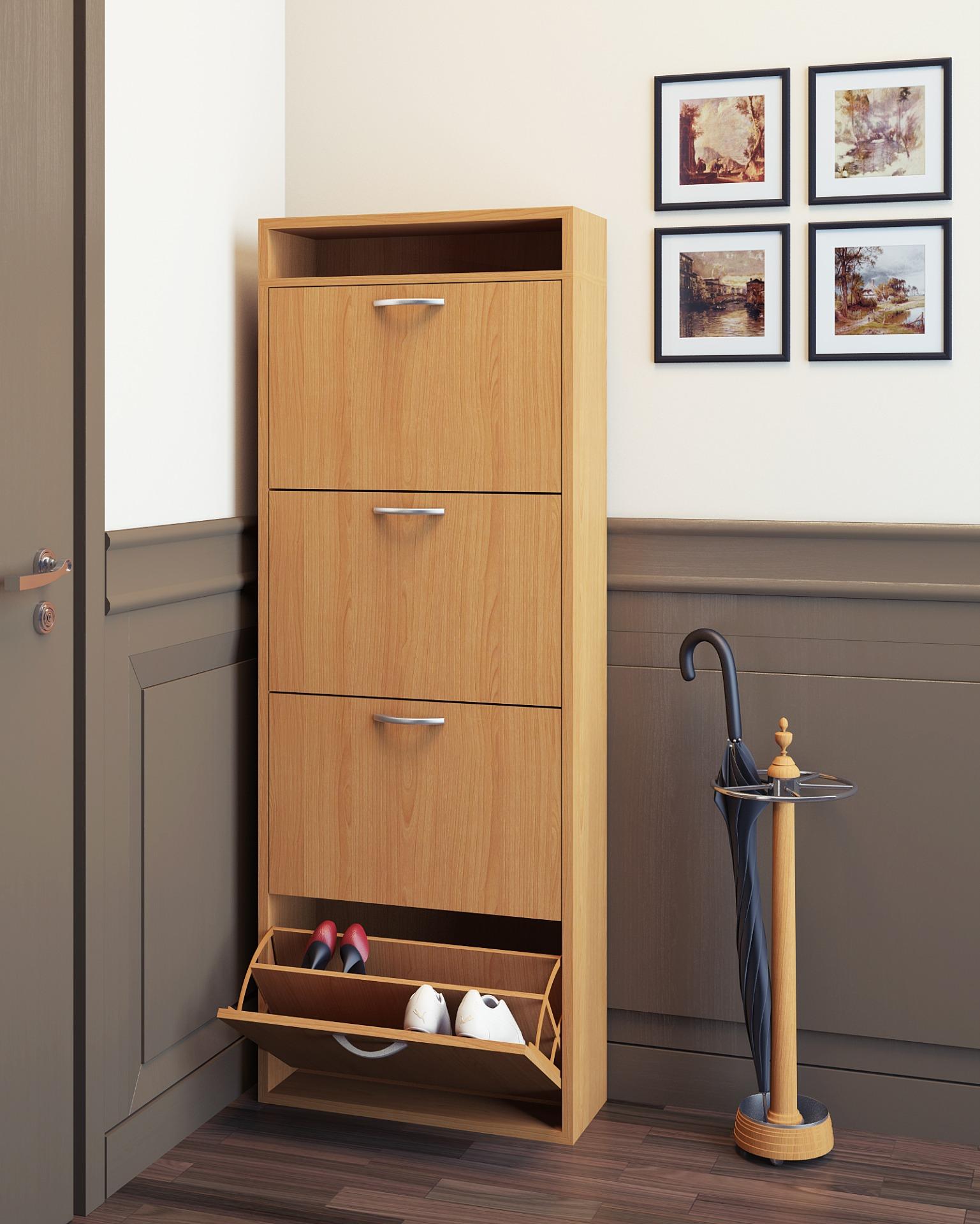 металлическая галошница для обуви в прихожей комнате
