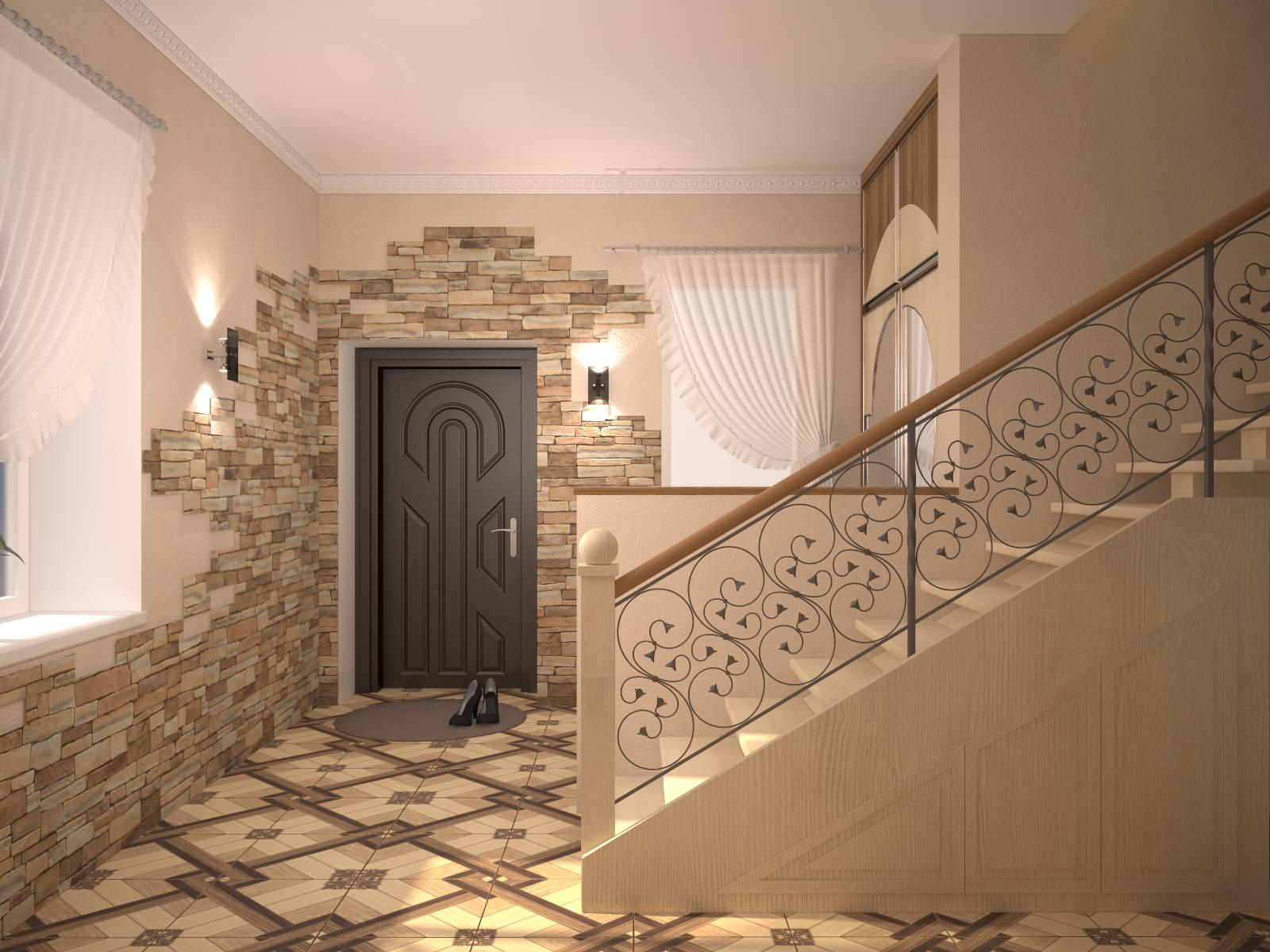 гипсовый камень в стилистике проходной комнате