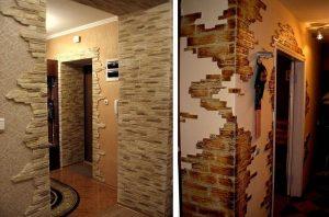 гипсовый камень в оформлении проходной комнате картинка