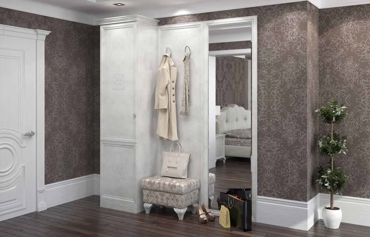 интерьер прихожей комнаты в квартире в светлых тонах
