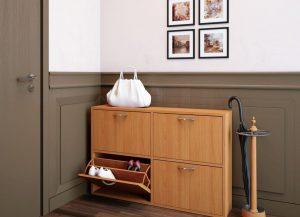 деревянная полка для обуви в прихожую комнату фото