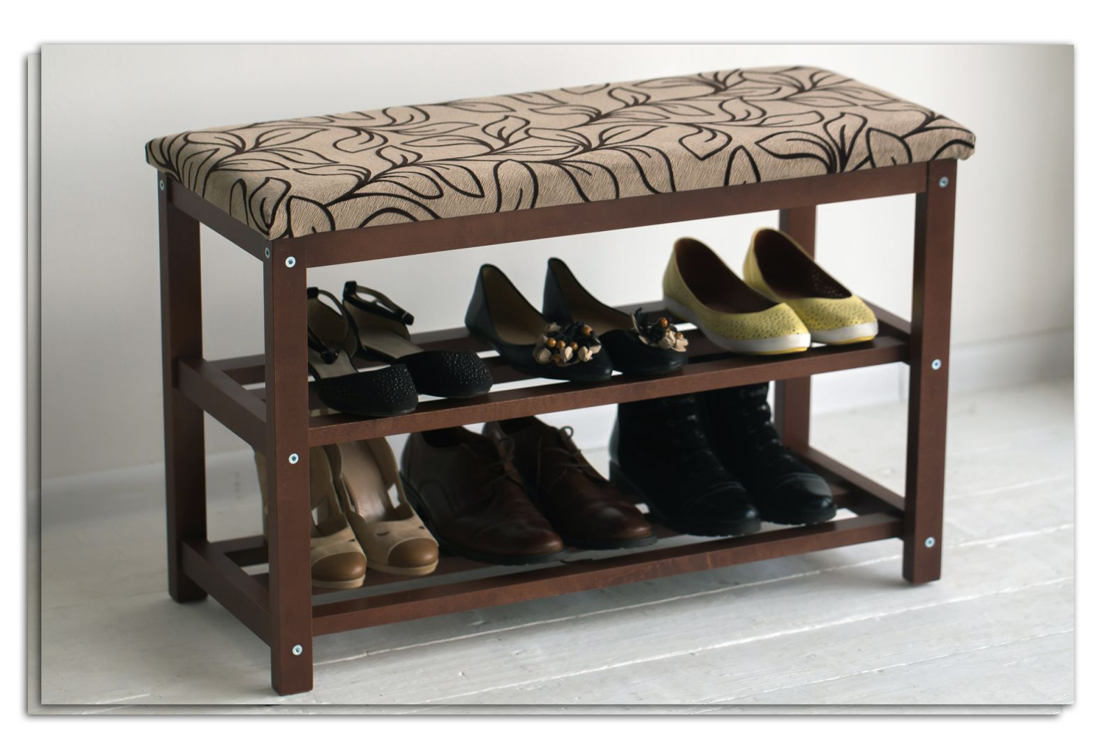 банкетка для обуви в прихожую комнату деревянная конструкция с оббивкой