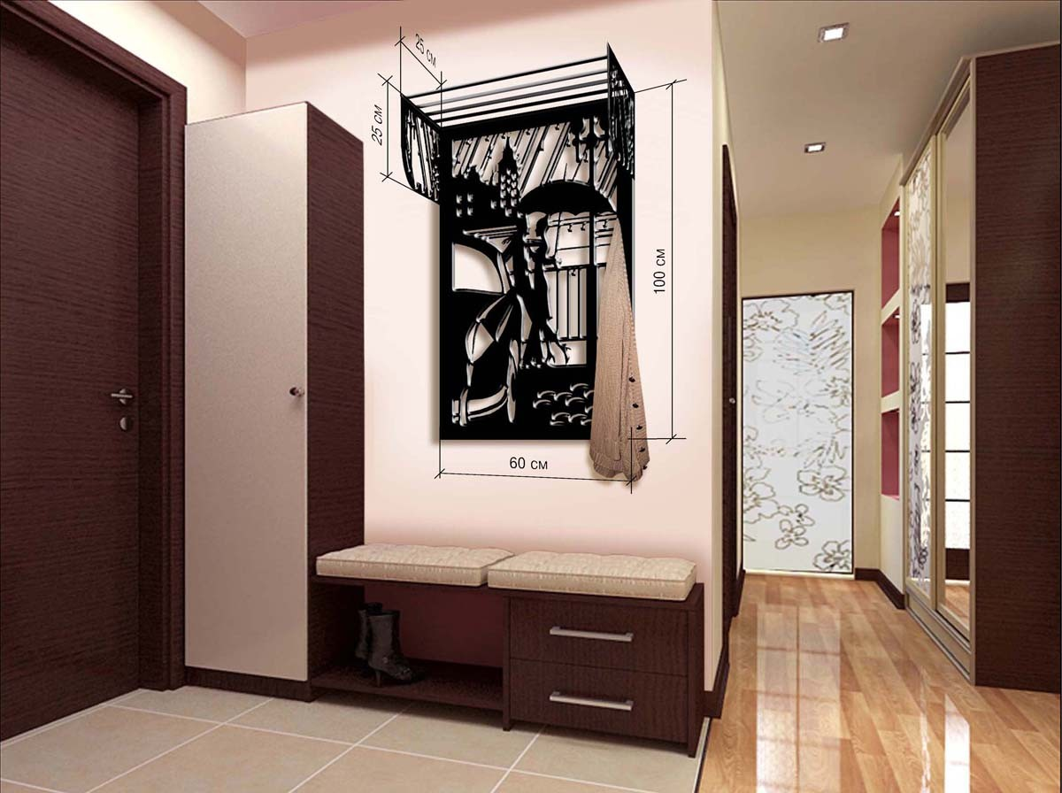 кованная вешалка для прихожей комнаты дизайн