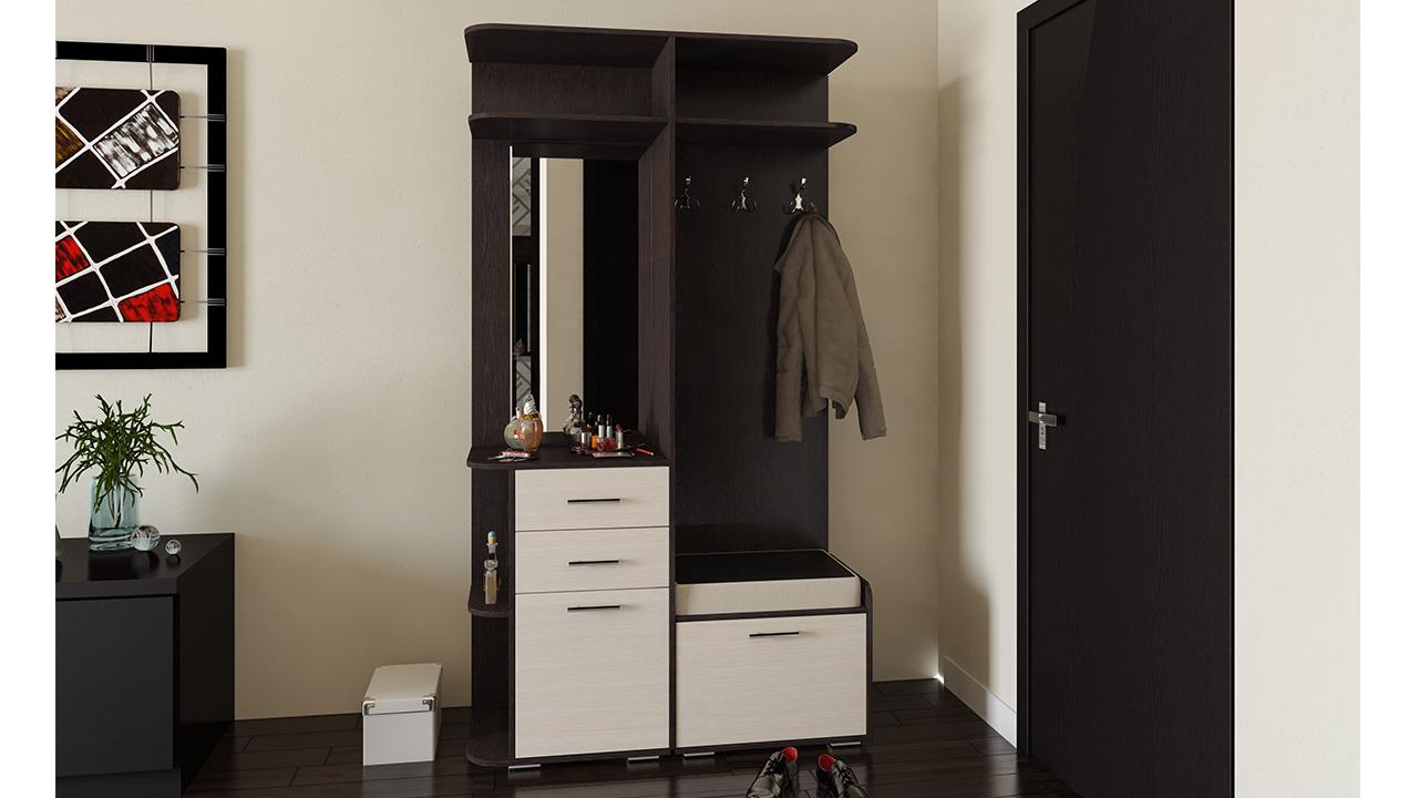 шкаф с зеркалом в проходную комнату из качественного дерева