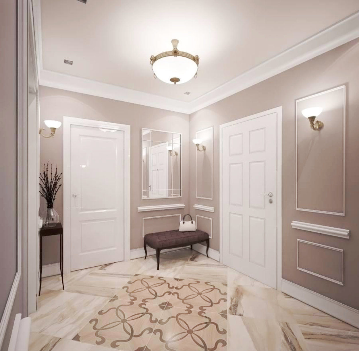 яркая прихожая комната в классическом стиле интерьер