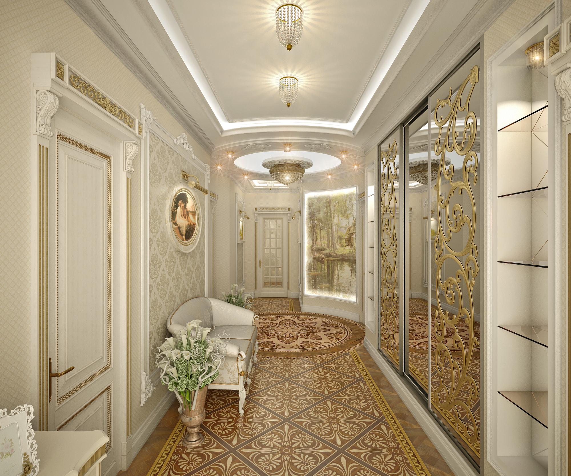 стеклотканевые обои в коридор интерьер