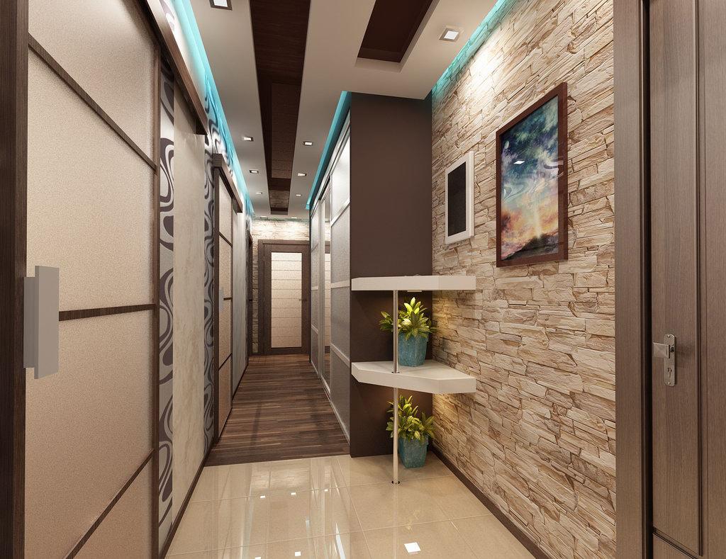 яркий дизайн прихожей комнаты с маленьким коридором