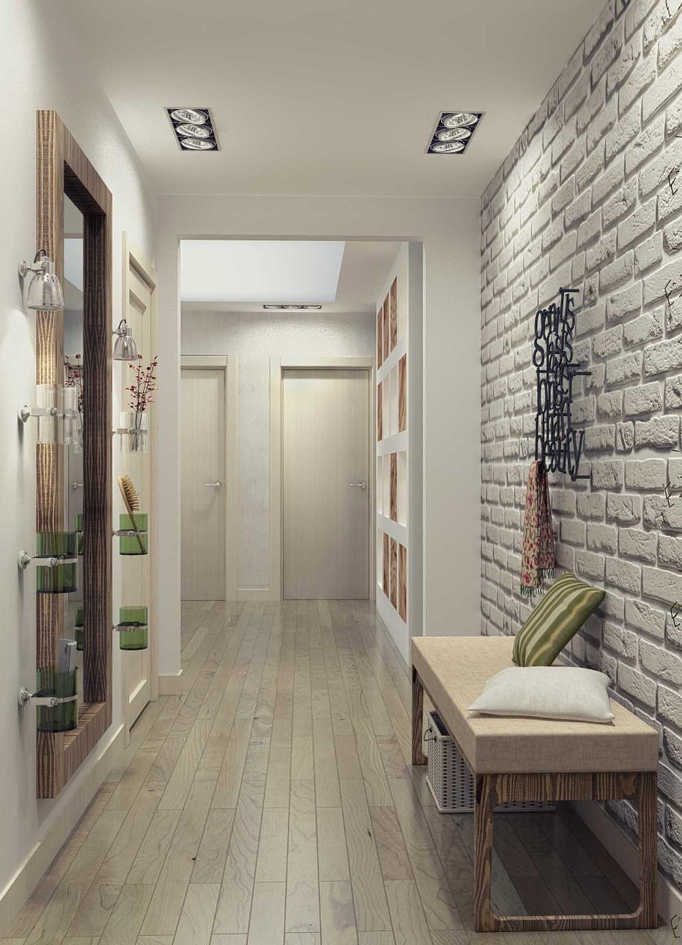 интересный стиль проходной комнаты с маленьким коридором
