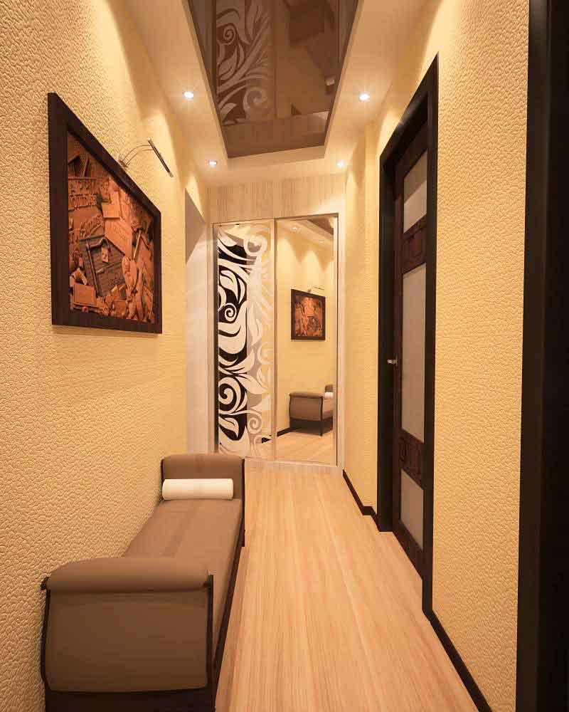 красивый стиль коридора с маленьким коридором