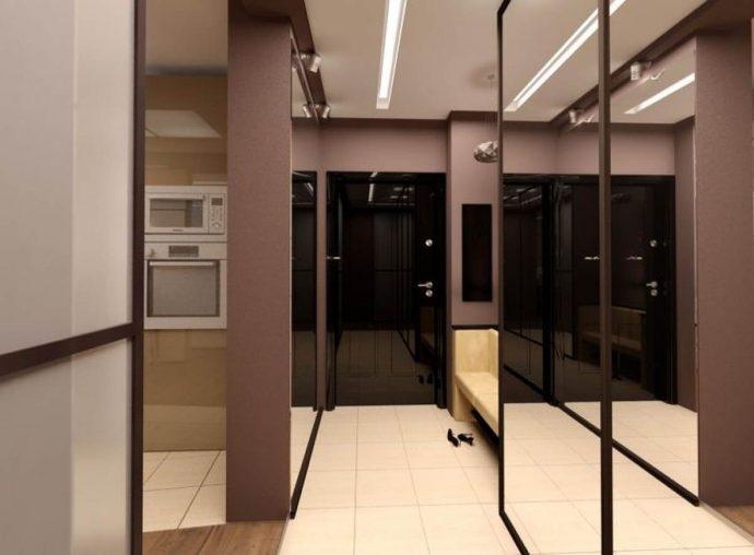 красивый интерьер прихожей с узким коридором