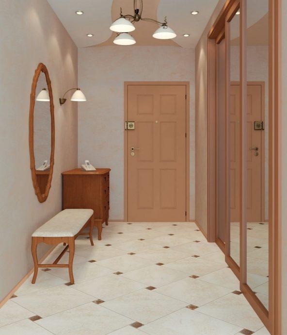 проходная комната с стеклообями и глянцевой стенкой картинка