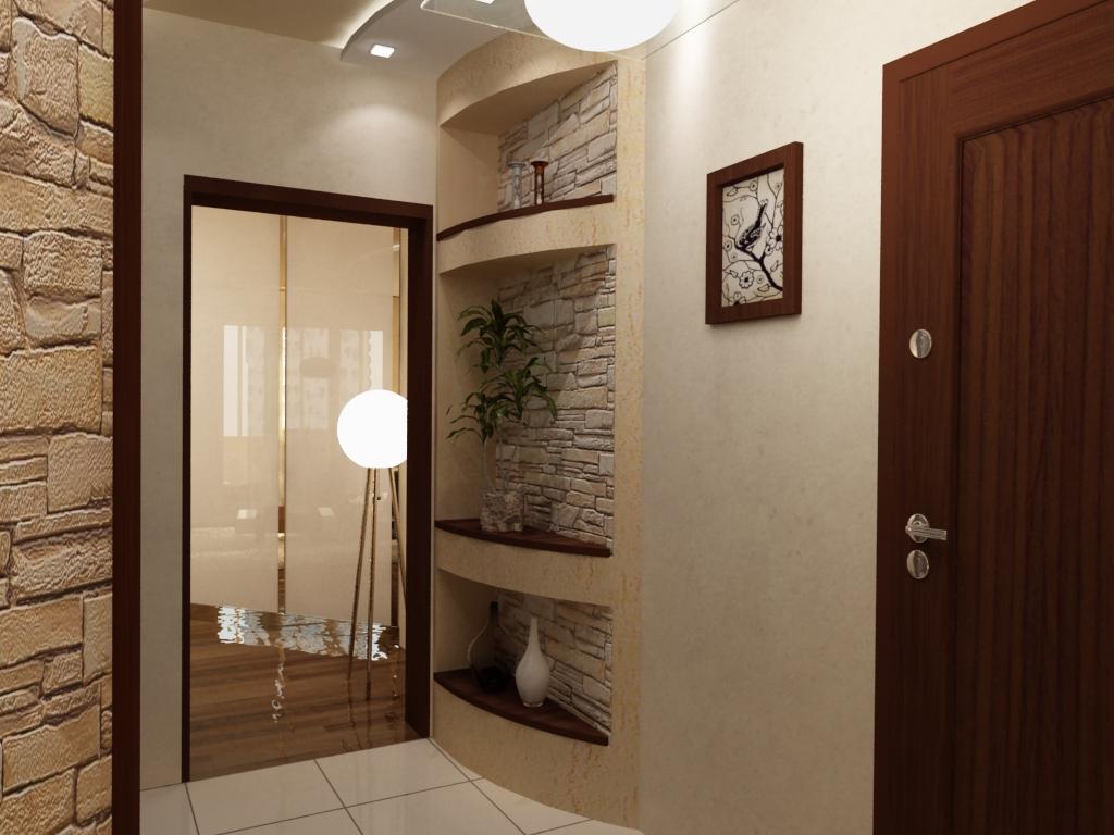 коридор с фактурной штукатуркой и глянцевой стенкой