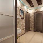 проходная комната с отделкой камнем и полуматовой стенкой картинка