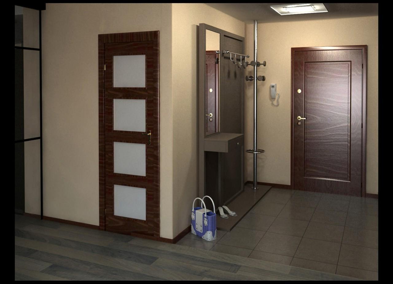 проходная комната с стеклообями и полуматовой стенкой