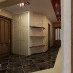 коридор с кирпичным декором и глянцевой стенкой картинка