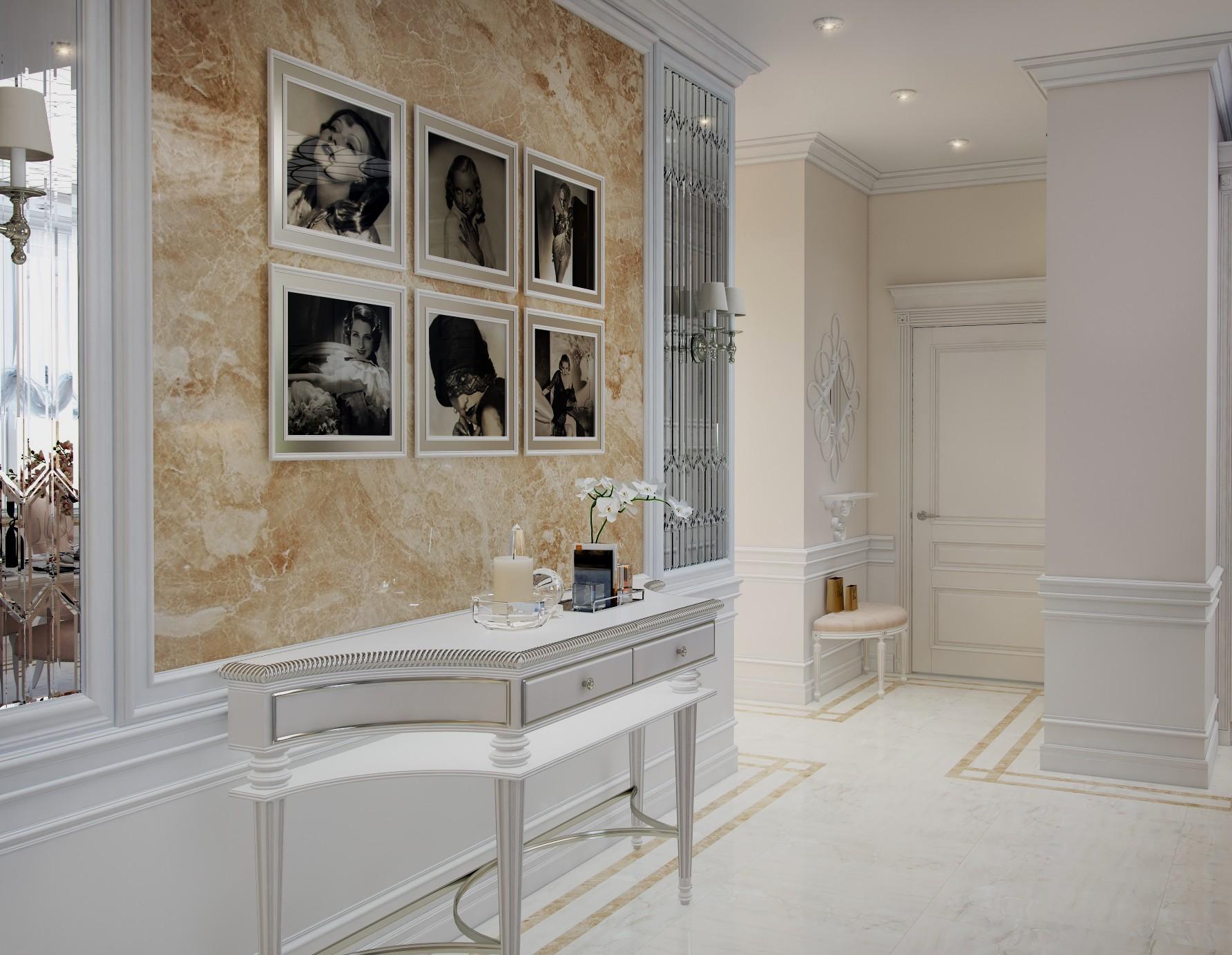 красивая прихожая комната в классическом стиле