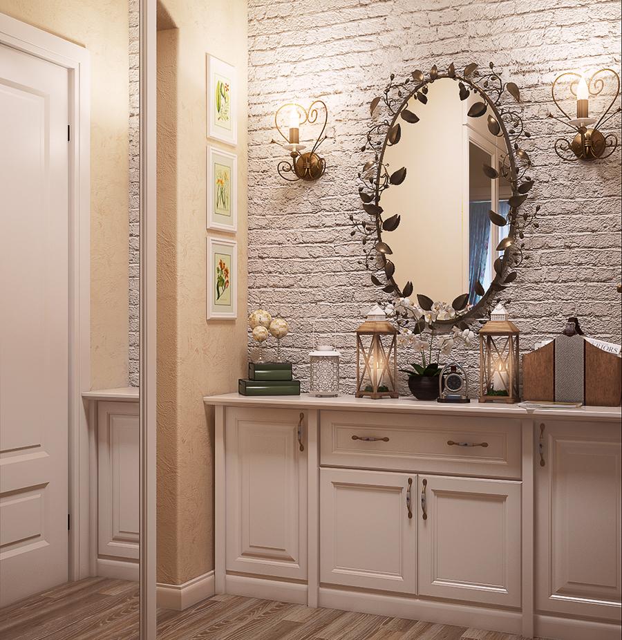 светлая коридор в классическом стиле интерьер