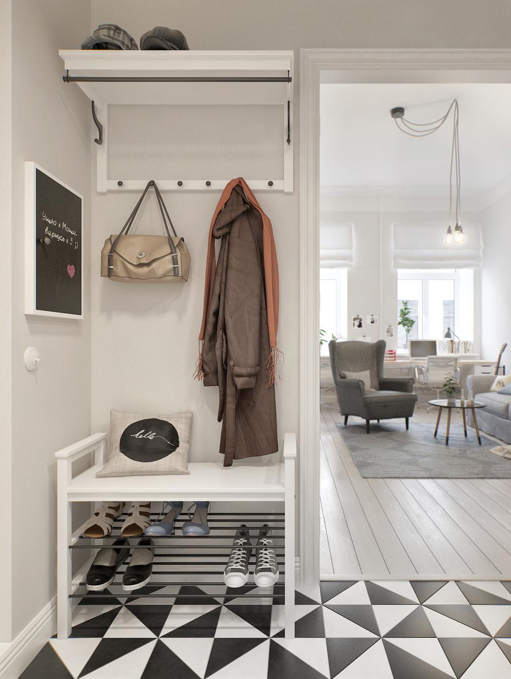 красивая прихожая комната в сканденавском дизайне