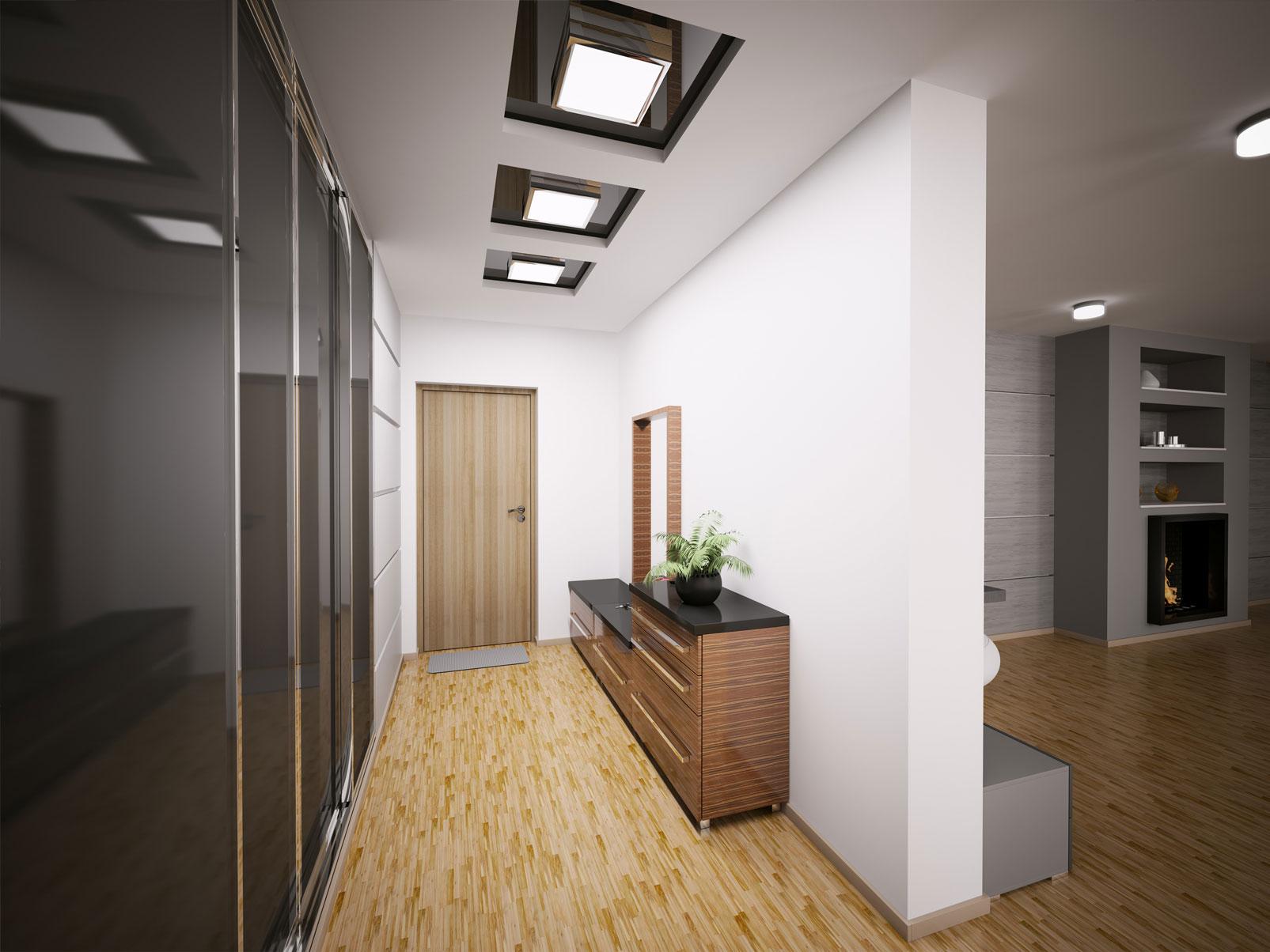 интересный стиль проходной с маленьким коридором