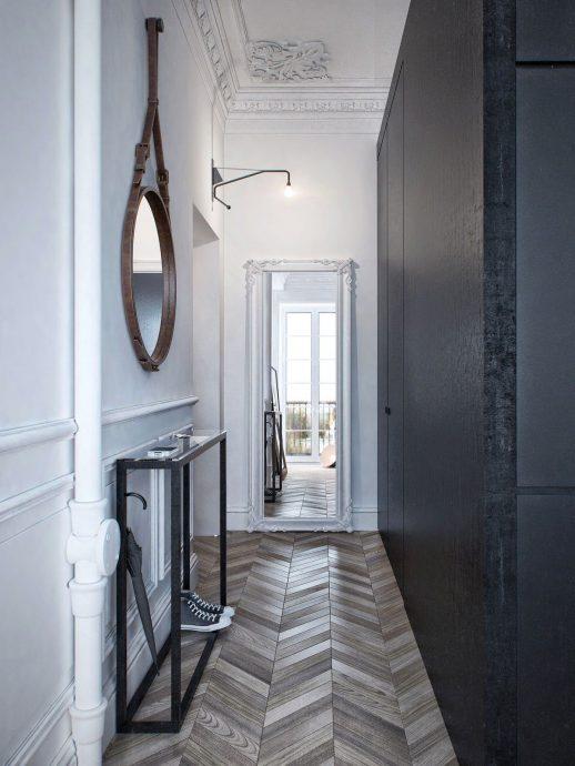 светлый стиль прихожей комнаты с узким коридором