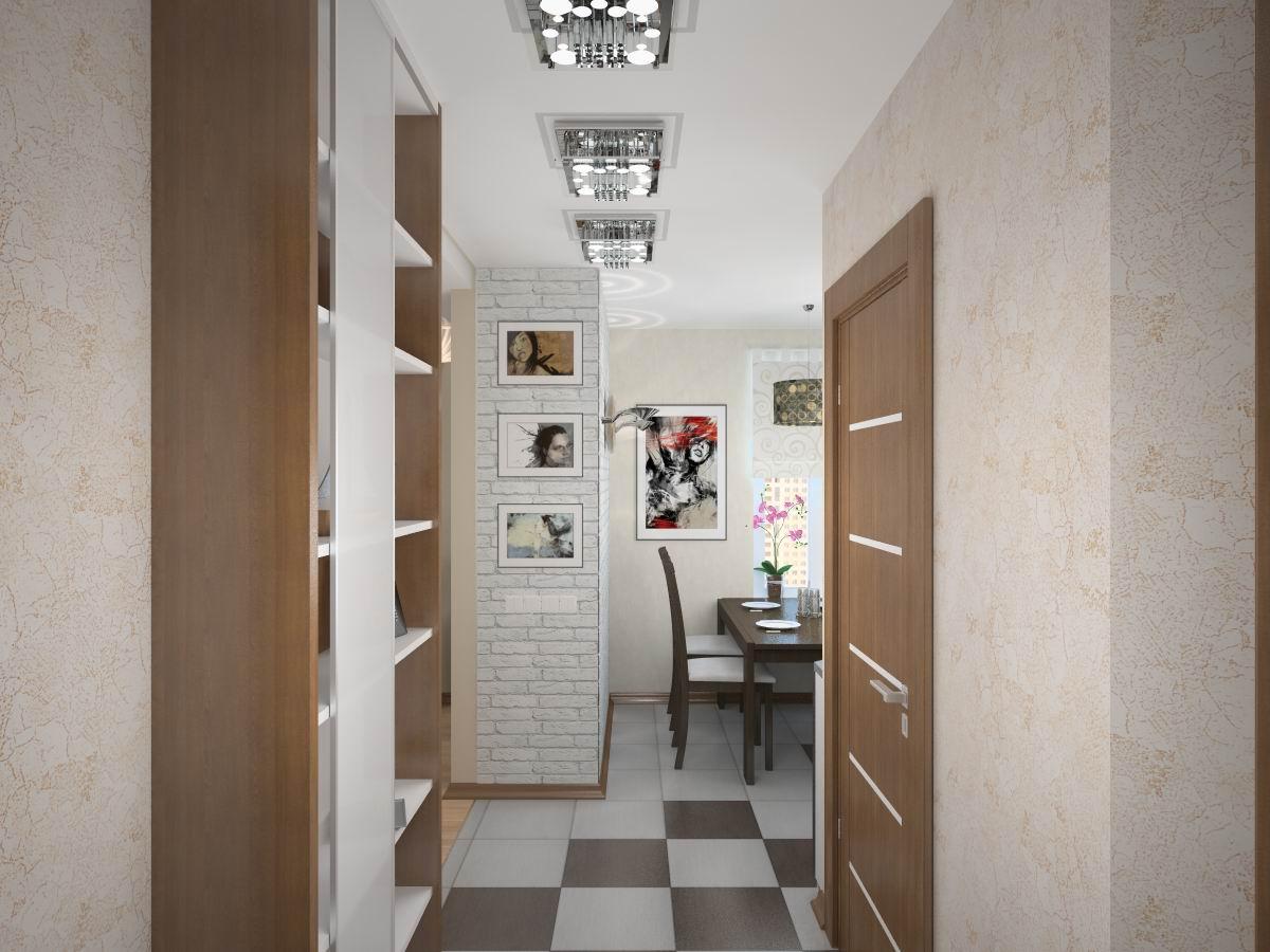 светлый дизайн прихожей с маленьким коридором