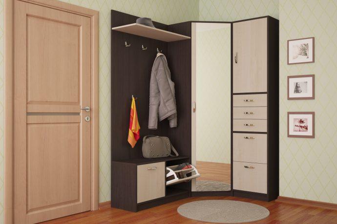 красивый стиль прихожей комнаты с узким коридором