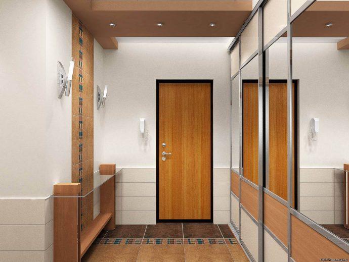 светлый стиль проходной с узким коридором