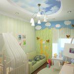 светлый потолок с фотопечатью в игровой картинка