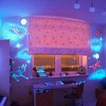 красивый натяжной потолок из натяжной ткани в игровой комнате фото