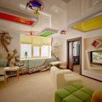 яркий натяжной потолок из пвх пленки в детской картинка
