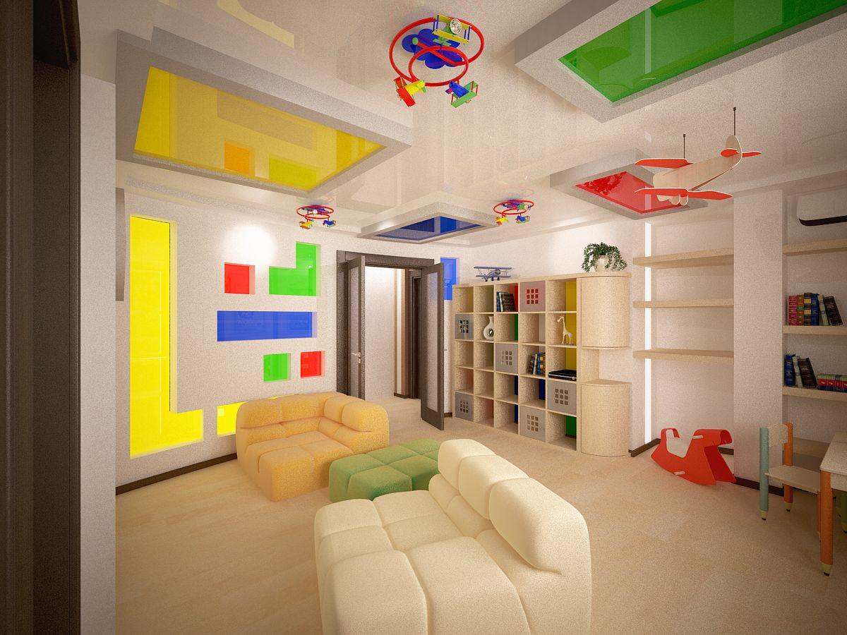 яркий потолок из пвх пленки в игровой комнате