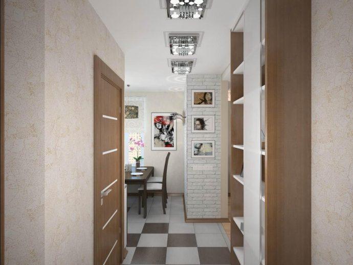 светлый интерьер проходной комнаты с маленьким коридором картинка