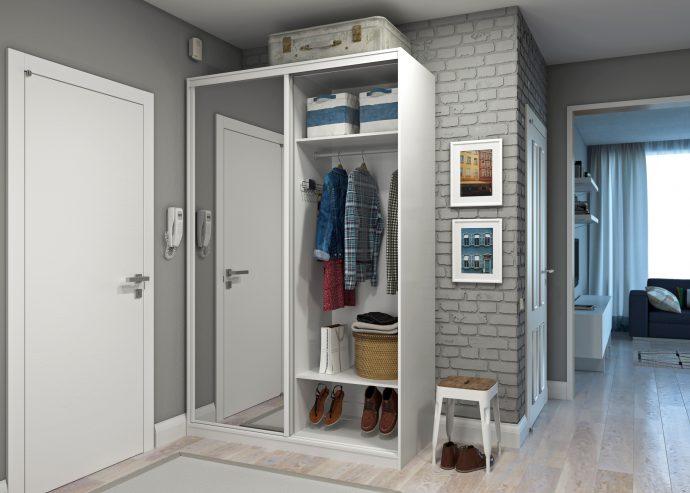 светлый интерьер проходной комнаты с узким коридором