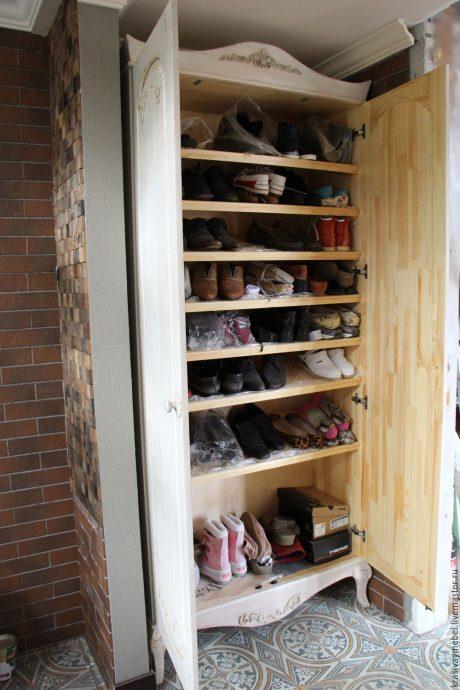 узкая шкафчик для обуви из дсп в коридор интерьер