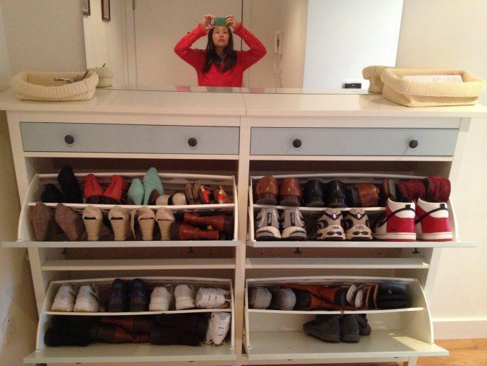 небольшая обувница из двп в прихожую комнату дизайн