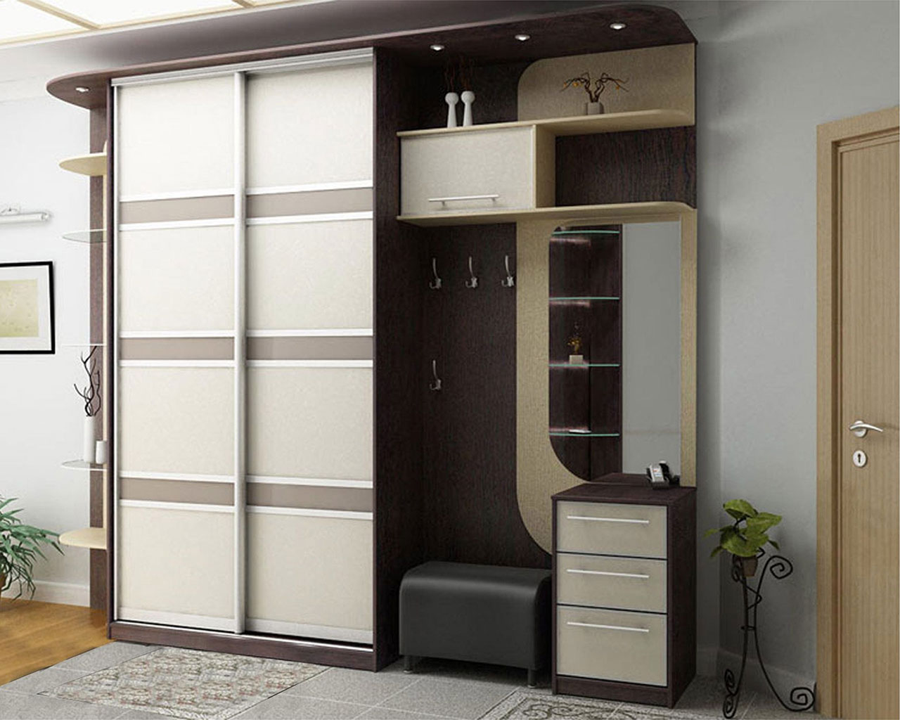 красивый дизайн прихожей комнаты эконом класса
