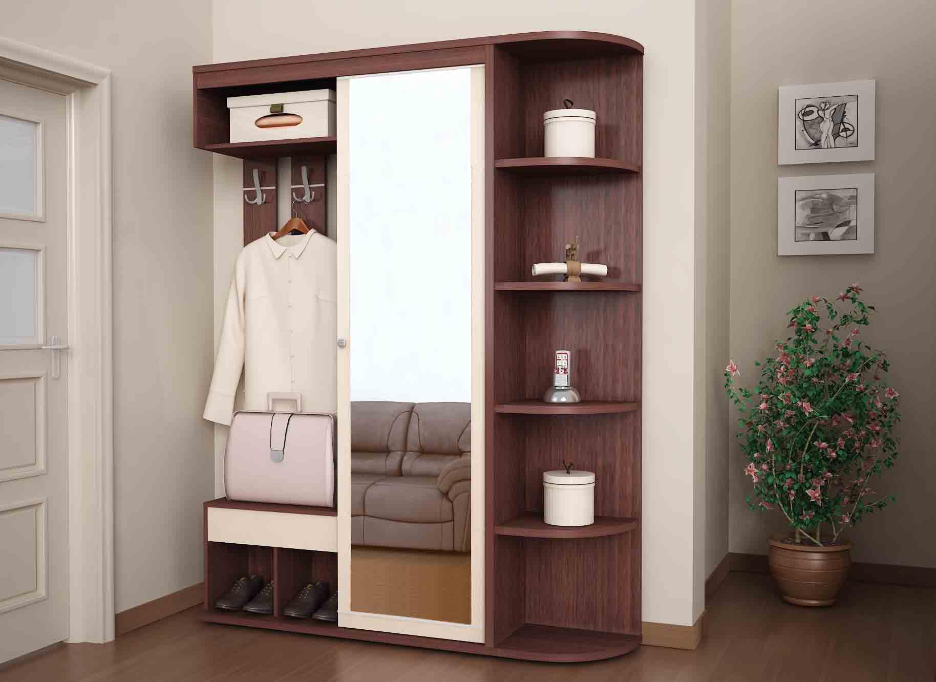 шкаф с зеркалом в прихожую комнату из качественного дерева