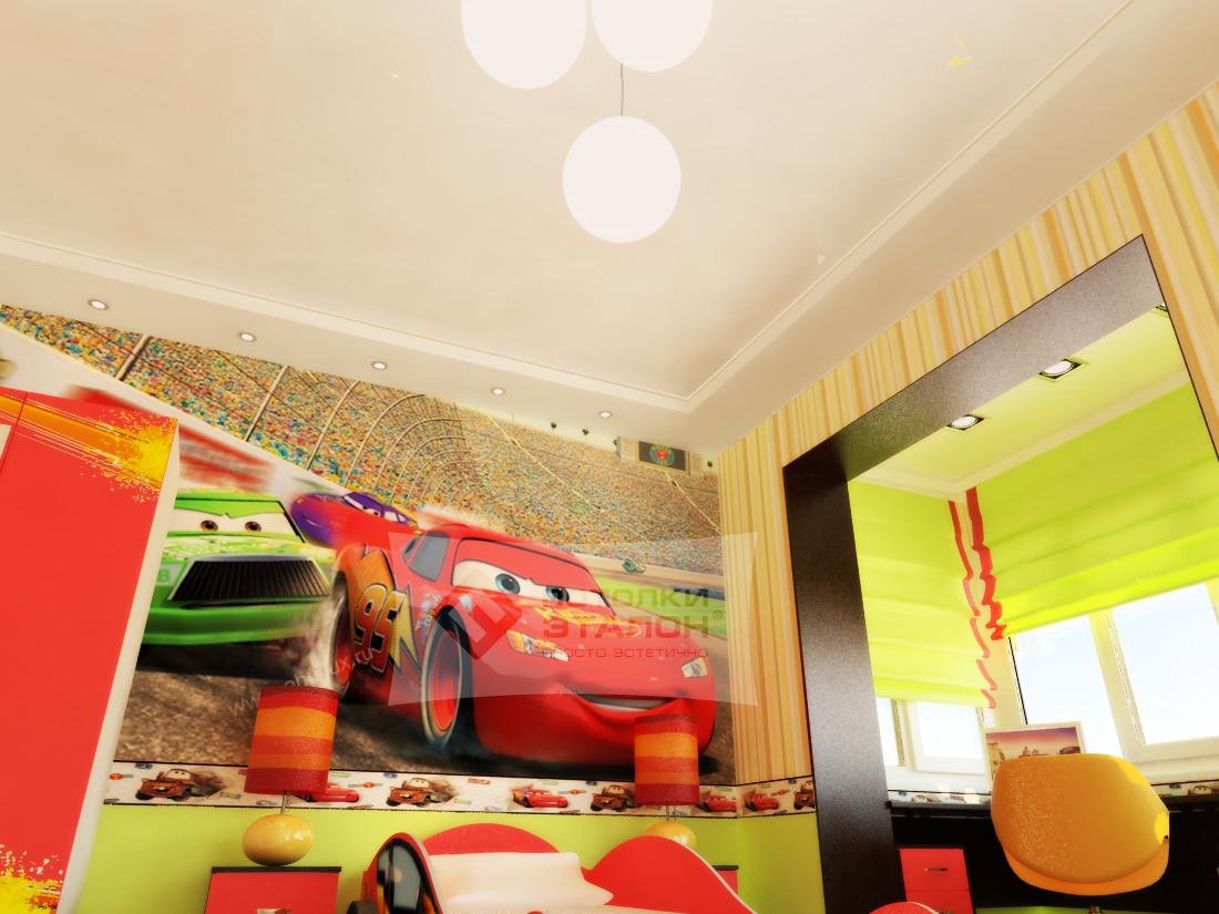 светлый потолок из пвх пленки в игровой комнате