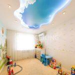 яркий натяжной потолок из натяжной ткани в игровой комнате картинка