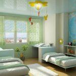 отражающий натяжной потолок из натяжной ткани в детской фото
