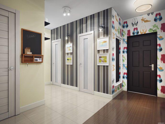 светлая отделка проходной комнаты обои фото