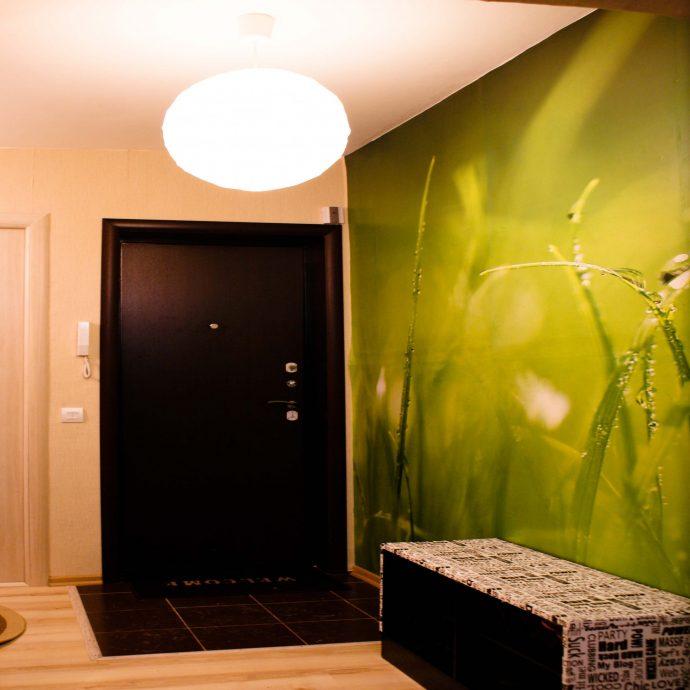 прихожая комната с жидкими обоями и матовой стенкой картинка